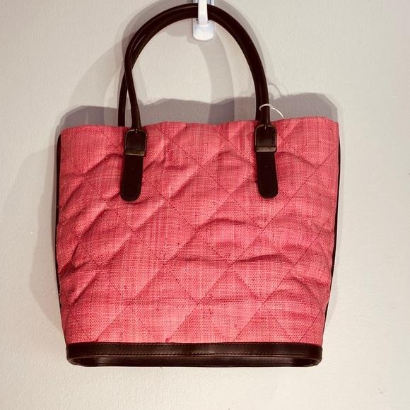 . Handbags - Gorgeous Straw & Leather Peach Bag**$395